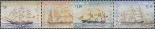 AUS SG4324a-6a Era of Sail: Clipper Ships set of 4 in pairs